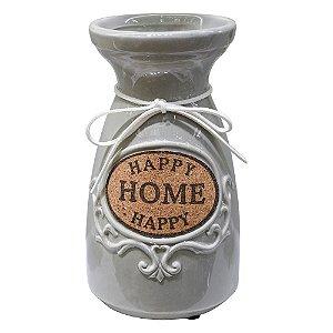 Vaso Garrafinha Happy Home Cinza em Cerâmica Mod. 2