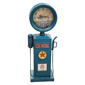 Relógio Bomba Azul em Metal