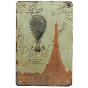 Placa Decorativa Metal Paris