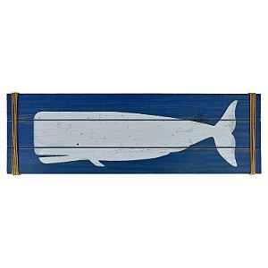 Quadro em Madeira Azul Baleia