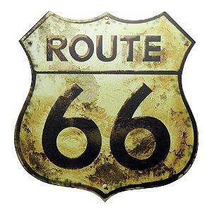 Placa Route 66 em Madeira
