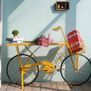 Aparador Mesa Bicicleta Amarela