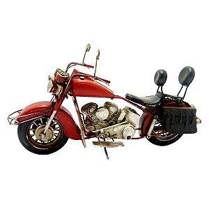 Enfeite Motocicleta Chopper Vermelha em Metal