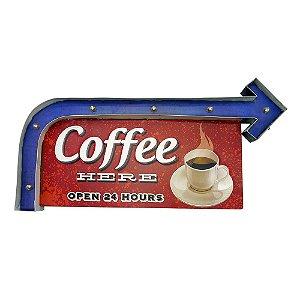 Placa de Metal Coffee Here com LED