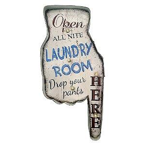 """Placa """"Laundry Hand"""" com luzes de LED"""