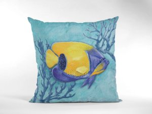 Capa Náutica Peixe Amarelo e Azul para Almofada