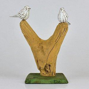 Enfeite Pássaros no Galho em V em Madeira