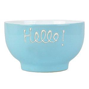 """Bowl """"Hello"""" Azul em Cerâmica"""