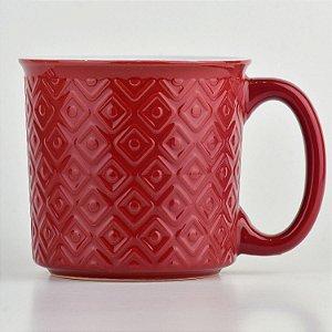 Caneca Texturizada Vermelha em Cerâmica
