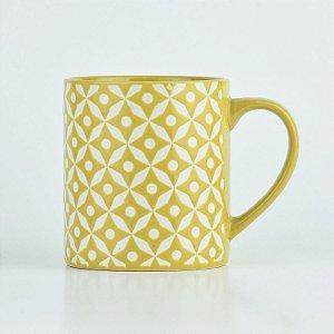 Caneca Abstrato Amarela em Cerâmica