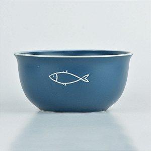 Tigela Náutica Azul Peixe em Cerâmica