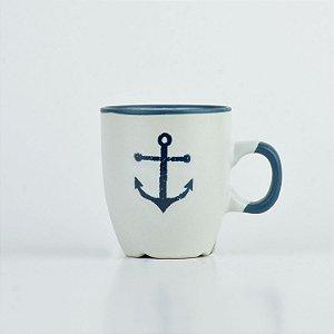 Caneca Oceano Branca Âncora P em Cerâmica