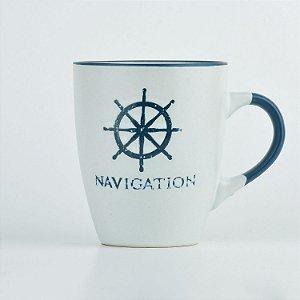 Caneca Branca Nautica Timão em Cerâmica