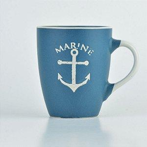 Caneca Azul Nautica Âncora em Cerâmica