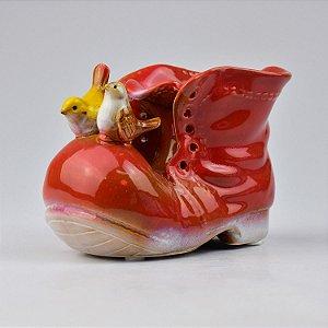 Vaso de Cerâmica Bota Vermelho