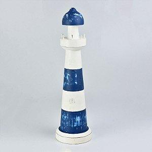 Farol Decorativo Azul e Branco Grande
