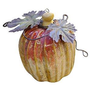 Enfeite Abóbora Vermelha com Folhas em Cerâmica