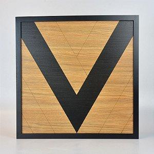 Quadro Quilt Geométrico Triângulo Preto