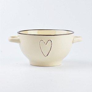 Bowl Coração Bege Claro em Cerâmica