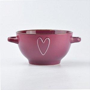 Bowl Coração Vinho em Cerâmica