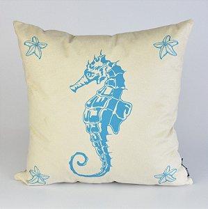 Almofada Náutica Cavalo Marinho com Estrelas Azul Claro