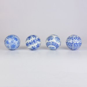 Conjunto de Bolas Decorativas Azul Escuro e Branco