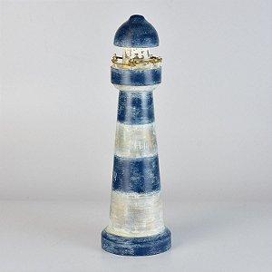 Farol Azul e Branco em Madeira Decor