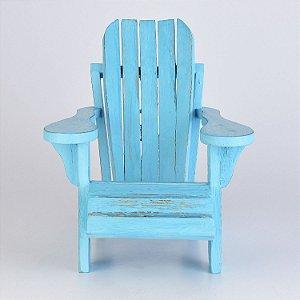 Cadeira Decorativa de Praia Azul Claro em Madeira