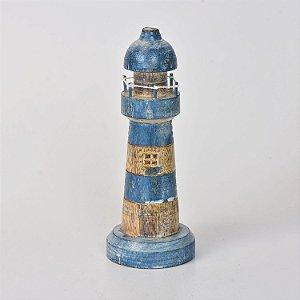 Farol Decor Azul Escuro e Marrom 25 cm