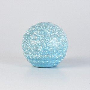 Enfeite Bola Decorativa Azul Claro e Branco em Cerâmica P