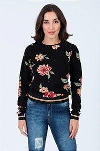 Blusa manga longa canelada com estampa floral