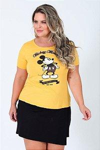 Camiseta manga curta mickey mouse plus size