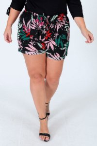Short estampado com elástico plus size