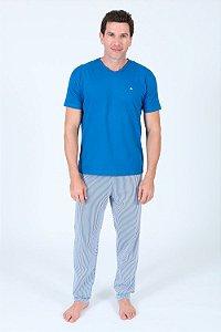 Pijama manga curta com calça listrada