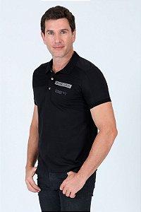 Camisa polo com recorte de tela