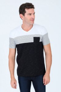 Camiseta manga curta gola v bicolor