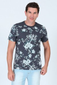 Camiseta estampada gola careca