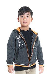 Jaqueta infantil manga longa com capuz em moletom