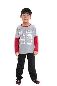 Pijama infantil longo com sobreposição