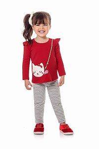 Conjunto infantil blusa manga longa com legging