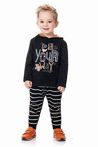Conjunto infantil blusa moletom peluciado com calça