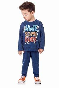 Conjunto infantil blusa manga longa com calça moletom peluciado