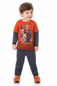 Conjunto algodão m malha camiseta manga longa sobreposta estampa local litleexplorer