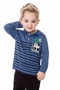 Camiseta infantil manga longa gola polo