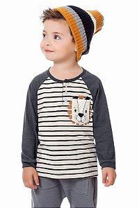 Camiseta infantil manga longa com botão