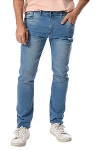 Calça jeans reta destroyed