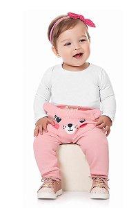 Calça bebê em moletom lisa  com estampa local