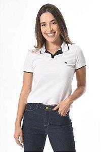 Camisa polo feminina manga curta em piquet