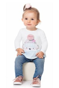 Blusa bebê manga longa com babado listrado e aplique