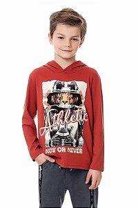 Camiseta infantil manga longa com estampa e capuz